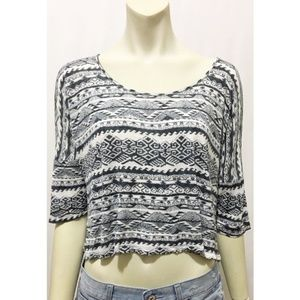 H.I.P. Large Black and White Aztec Print Crop Top